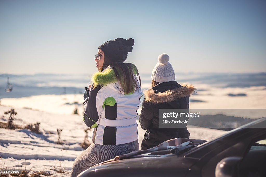 Best friends have time to hot tea : Stock Photo
