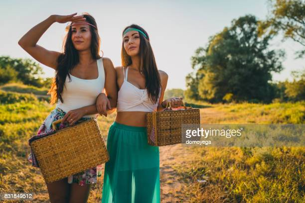 Best friends having picnic on a lovely summer day