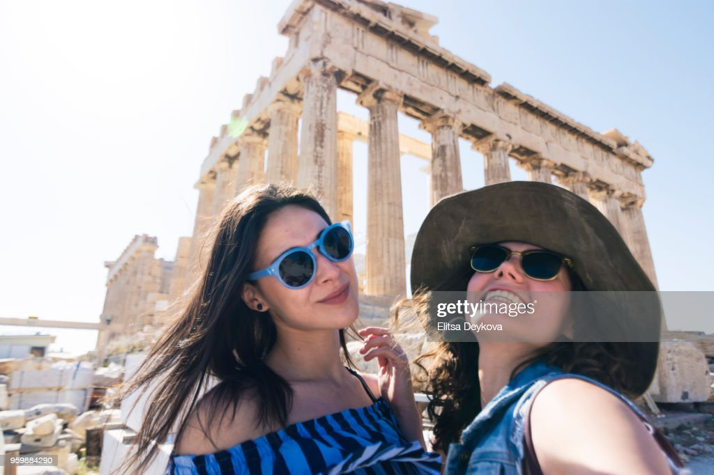 Best friends in a vacation in Greece : Stock Photo