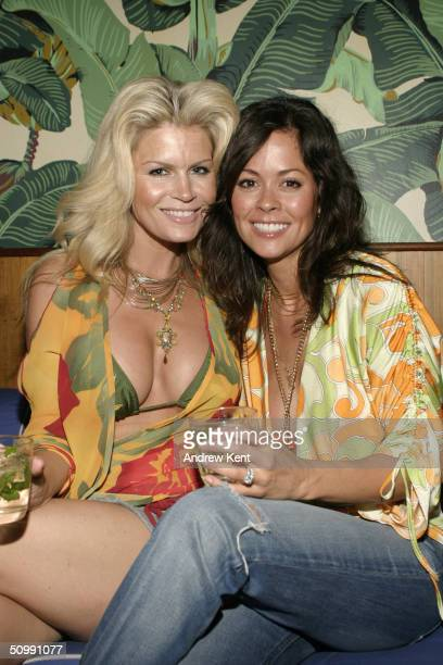 Best friends Neriah Davis and Brooke Burke pose at a private beach bash party hosted by Brooke Burke and Mount Gay Rum on June 23 2004 at the...