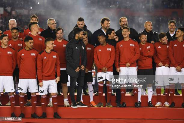 Best friends of Rodrigo Mora pose prior the farewell match of Uruguayan player Rodrigo Mora at Estadio Monumental Antonio Vespucio Liberti on July 13...
