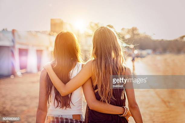 best friends on the best summer festival - girlfriend stock pictures, royalty-free photos & images