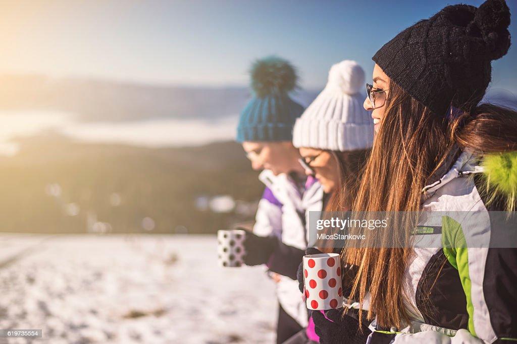 Melhores amigos no inverno vocação : Foto de stock