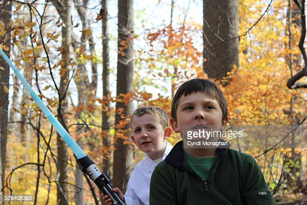 best friends playing in the autumn woods - lightsaber stock pictures, royalty-free photos & images