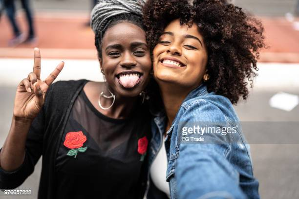 best friends portrait - black girls stock photos and pictures