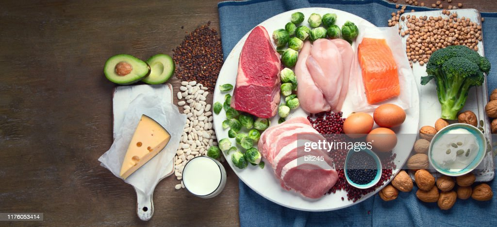 Best high protein foods. : Stock Photo
