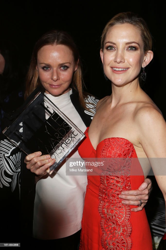 Best International Designer winner Stella McCartney and presenter Kate Hudson pose in the press room at the Elle Style Awards at The Savoy Hotel on February 11, 2013 in London, England.