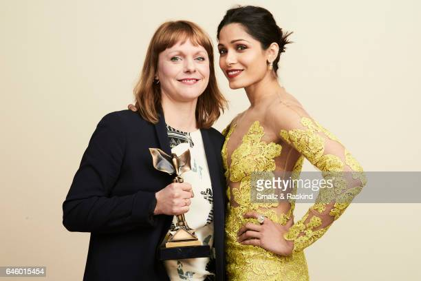 Best International Film Winner Maren Ade poses with presenter Freida Pinto for a portrait session at the 2017 Film Independent Spirit Awards on...