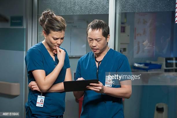 SHIFT Best Laid Plans Episode 208 Pictured Jeananne Goossen as Krista BellHart Ken Leung as Topher Zia