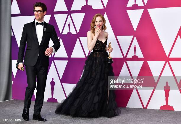 Best Live Action Short Film winners for Skin Director Guy Nattiv and his wife actress Jaime Ray Newman pose in the press room with their Oscars...