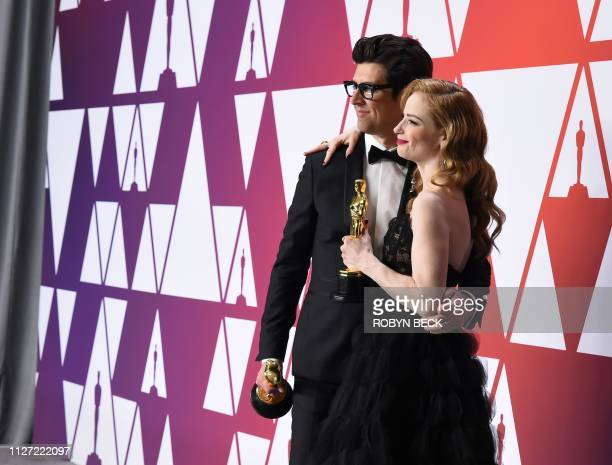 Best Live Action Short Film winners for Skin director Guy Nattiv and wife actress Jamie Ray Newman pose in the press room with their Oscar during the...