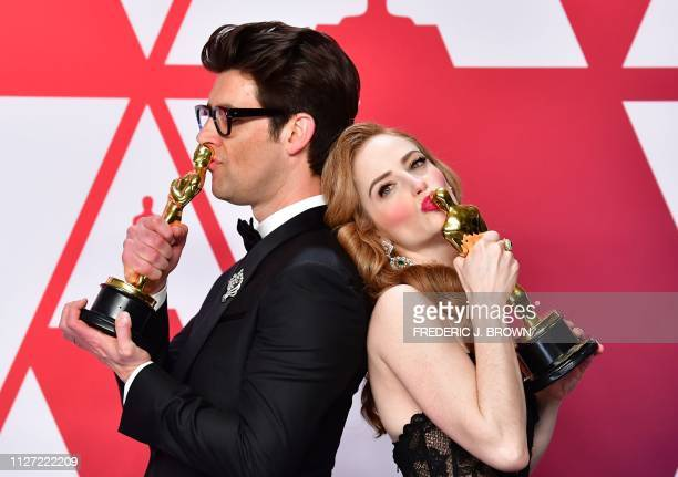 TOPSHOT Best Live Action Short Film winners for Skin Director Guy Nattiv and his wife actress Jaime Ray Newman pose in the press room with their...