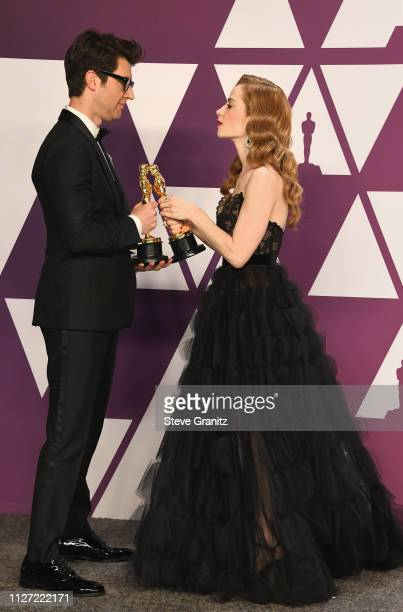 Best Live Action Short Film winners for 'Skin' Guy Nattiv and Jaime Ray Newman pose in the press room during at Hollywood and Highland on February 24...