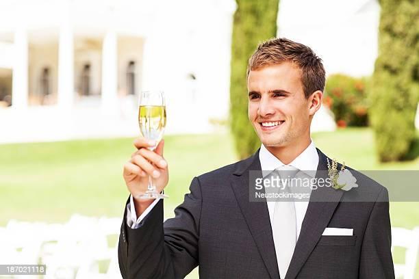 Best Man Champagne Flute At Garden Wedding