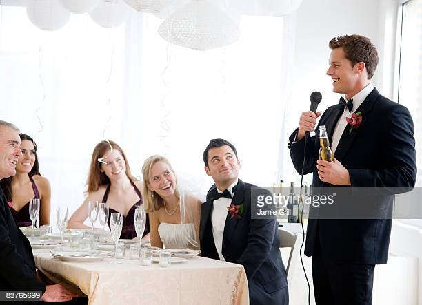 best man giving speech at wedding - speech stock pictures, royalty-free photos & images
