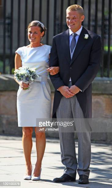 Best Man Iain Balshaw departs from the Royal wedding of Zara Phillips and Mike Tindall at Canongate Kirk on July 30, 2011 in Edinburgh, Scotland. The...