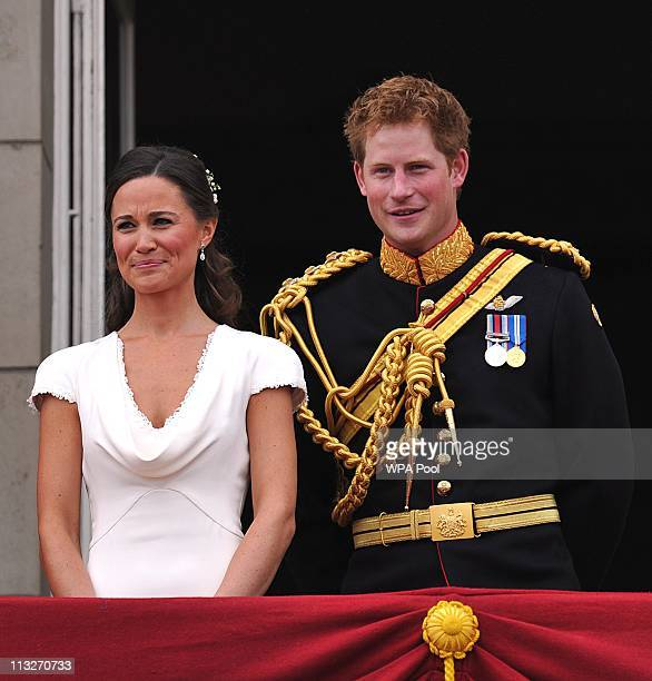 Best man Prince Harry and Maid of Honour Pippa Middleton on the balcony at Buckingham Palace after the Royal Wedding of Prince William to Catherine...