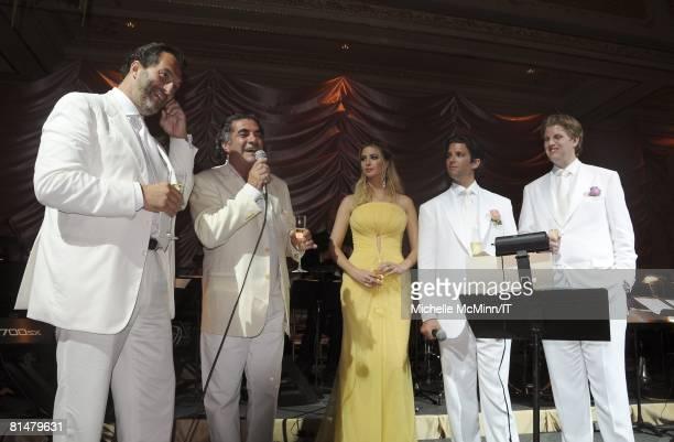 Best man Silvio Sardi Alfonso Telese Ivanka Trump Donald Trump Jr and Eric Trump speak during the wedding reception of Ivana Trump and Rossano...