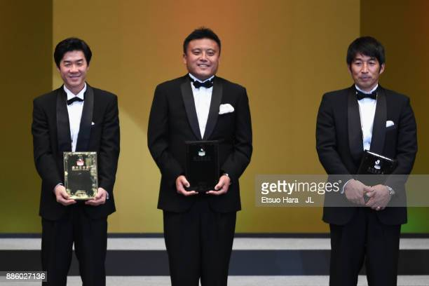 J1 Best Manager Award winner Yoon Jonghwan J2 Best Manager Award winner Cho Kwijea and J3 Best Manager Award winner Koichi Sugiyama pose for...