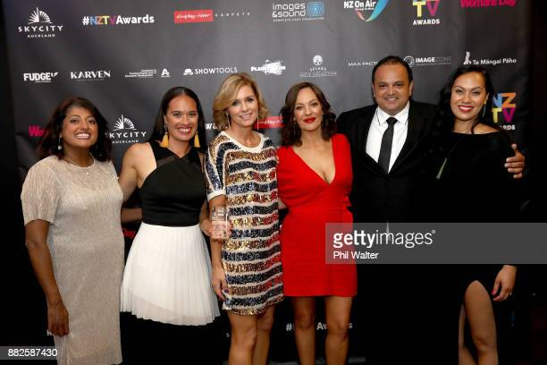 Best Maori Programme The Hui with Annabelle Lee Adrian Stevanon and Mihingarangi Forbes during the NZ TV Awards at Sky City on November 30 2017 in...