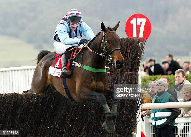 Best Mate jumps the last with Jim Culloty up on their way to win the CheltenhamGold Cup 14 March 2002 at the Cheltenham Festival It was a first Gold...
