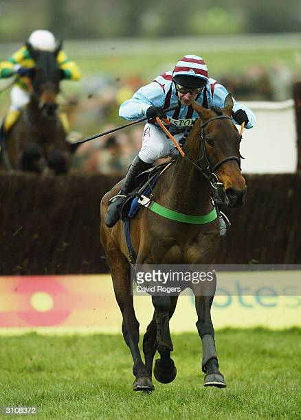 Best Mate ridden by Jim Culloty leads over the final fence on his way to winning the Totesport Cheltenham Gold Cup held on the third day of the...