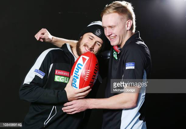 Best mates Tom Phillips of the Magpies and Jaidyn Stephenson pose during a Collingwood Magpies AFL media oportunity at Holden Centre on September 17...