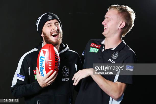 Best mates Tom Phillips of the Magpies and Jaidyn Stephenson reacts while posing during a Collingwood Magpies AFL media oportunity at Holden Centre...