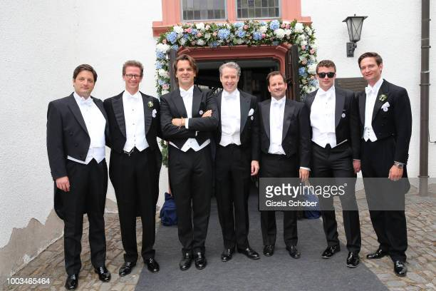 Best men Prince Manuel von Bayern guest Prince Carl Christian von Wrede guests Prince August Frederik zu SaynWittgensteinBerleburg during the wedding...