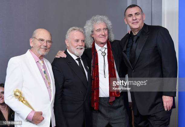 Best Motion Picture Drama Award Winners for 'Bohemian Rhapsody' producers Jim Beach Graham King Brian May pose in the press room during the 76th...