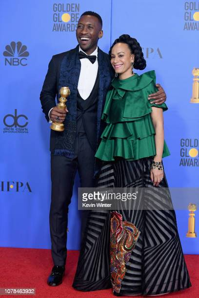 Best Motion Picture Musical or Comedy award for 'Green Book' winner Mahershala Ali and Amatus SamiKarim pose in the press room during the 76th Annual...