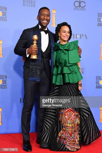 Best Motion Picture Musical or Comedy award for 'Green Book' winner Mahershala Ali and Amatus SamiKarim pose in the press room during the 75th Annual...