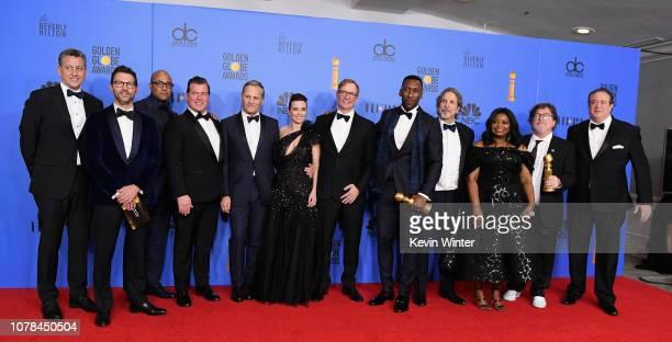 Best Motion Picture Musical or Comedy award for 'Green Book' winners Kwame Parker Brian Currie Viggo Mortensen Linda Cardellini Jim Burke Mahershala...