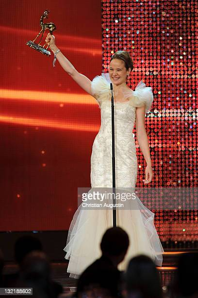 Best National Actress Jeanette Hain speaks onstage during the Bambi Award 2011 show at the RheinMainHallen on November 10 2011 in Wiesbaden Germany