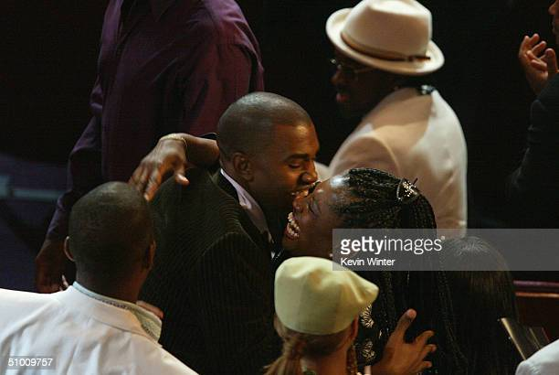 Best New Artist winner Kanye West hugs his mother at the 2004 Black Entertainment Awards held at the Kodak Theatre on June 29 2004 in Hollywood...
