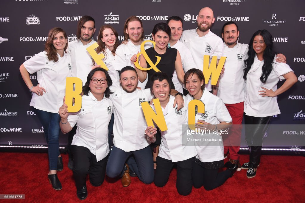Best New Chefs (Back Row L-R) Sara Kramer, Jordan Kahn, Sarah Hymanson, Noah Sandoval, Food & Wine's Nilou Motamed, Val Cantu, Jay Blackinton, Rico Torres, Angie Mar, (Front row L-R) Peter Cho, Diego Galicia, Yoshi Okai, and Nina Compton attend the Food & Wine Celebration of the 2017 Best New Chefs on April 4, 2017 in New York City.