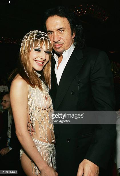 Best New Starlet winner Cytherea poses with rocker Gene Simmons of the band KISS at the 2005 AVN Awards on January 8, 2005 at the Venetian Hotel in...