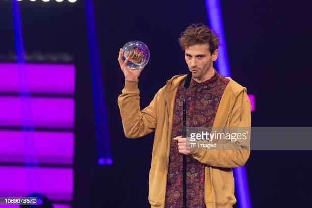 'Best Newcomer' award to Fynn Kliemann on stage at the 1Live Krone radio award at Jahrhunderthalle on December 6 2018 in Bochum Germany