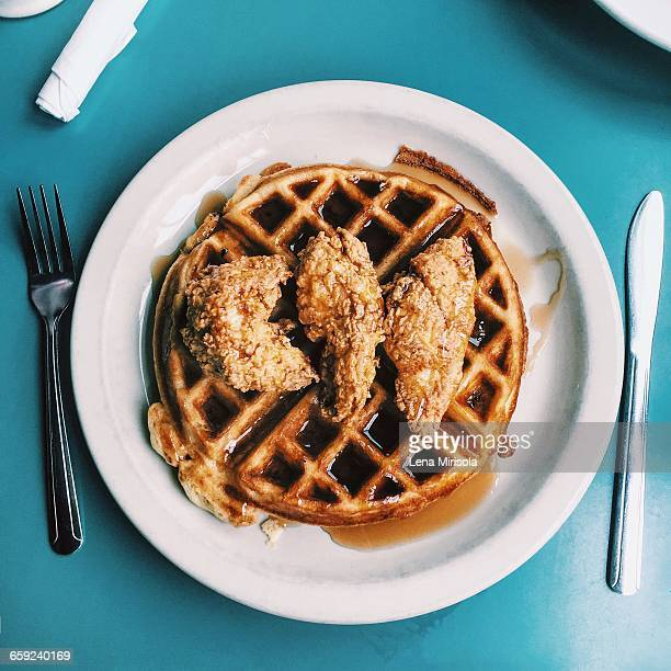 best of month!  - chicken and waffles stock photos and pictures