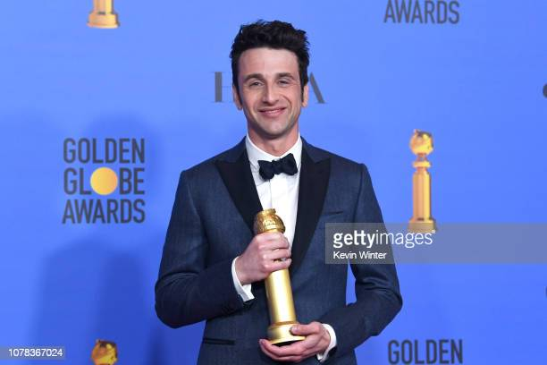 Best Original Score Motion Picture for 'First Man' winner Justin Hurwitz poses with award in the press room during the 76th Annual Golden Globe...