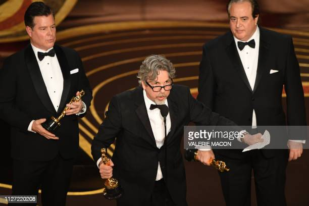 Best Original Screenplay nominees for Green Book Nick Vallelonga Brian Currie Peter Farrelly accept the award for Best Original Screenplay for during...