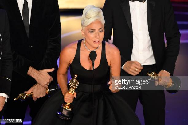 TOPSHOT Best Original Song nominees for Shallow from A Star is Born Lady Gaga accepts the award for Best Original Song during the 91st Annual Academy...