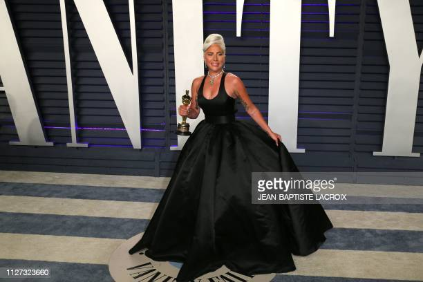 Best Original Song winner for 'Shallow' from 'A Star is Born' Lady Gaga attends the 2019 Vanity Fair Oscar Party following the 91st Academy Awards at...