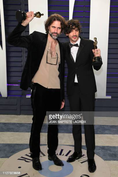 Best Original Song winners for Shallow from A Star is Born Andrew Wyatt and Anthony Rossomando attend the 2019 Vanity Fair Oscar Party following the...