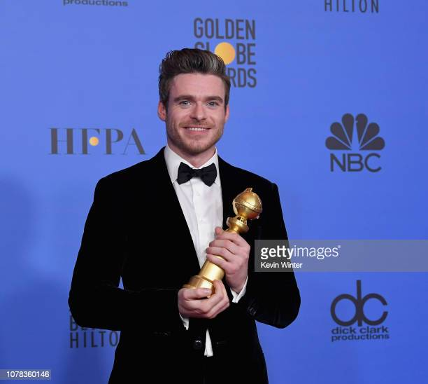 Best Performance by an Actor in a Television Series Drama for 'Bodyguard' winner Richard Madden poses with the trophy at the 76th Annual Golden Globe...
