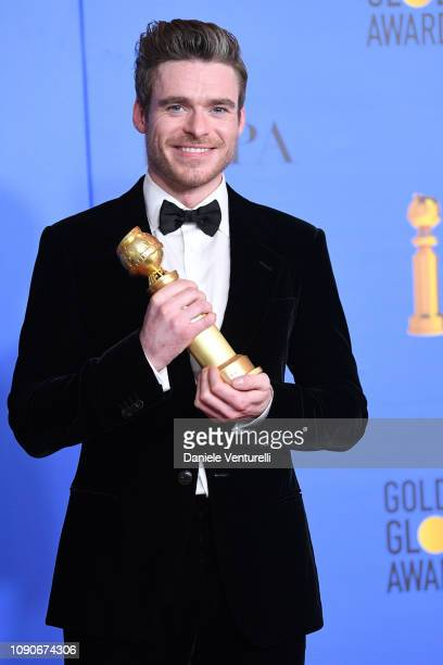 Best Performance by an Actor in a Television Series Drama for 'Bodyguard' winner Richard Madden poses in the press room during the 75th Annual Golden...