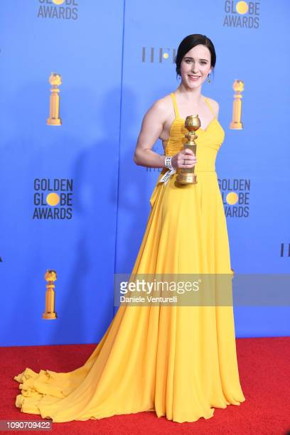 Best Performance by an Actress in a Television Series Musical or Comedy for 'The Marvelous Mrs. Maisel' winner Rachel Brosnahan poses in the press...
