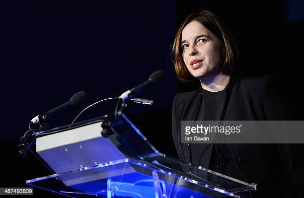 Best Photography Book award presenter Kate Bush speaks on stage at the 2014 Sony World Photography awards at the London Hilton on April 30, 2014 in...