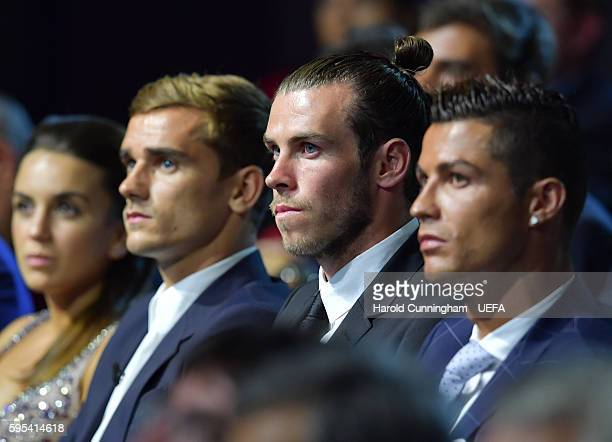 Best Player in Europe Award nominees Antoine Griezmann Gareth Bale and Christiano Ronaldo during the UEFA Champions League draw part of the ECF...