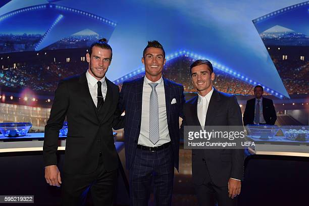 Best Player in Europe Award nominee's Gareth Bale Christiano Ronaldo and Antoine Griezmann ahead of the UEFA Champions League draw part of the ECF...